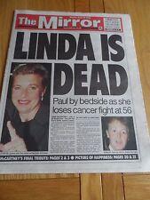 LINDA MC CARTNEY THE MIRROR NEWSPAPER MONDAY APRIL 20TH 1998