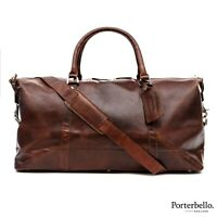 Porterbello Dark Brown Leather Holdall Duffle Weekend Bag