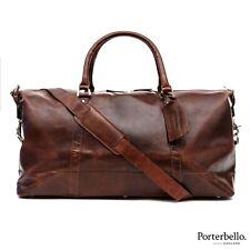 Porterbello Dark Brown Leather Holdall Duffle Weekend Bag