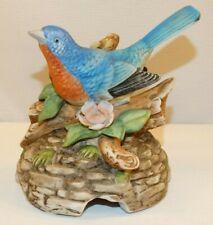 Vintage Andrea By Sadek Music Box Blue Bird Pink Flowers Plays Love Story