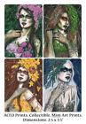 Gothic Fantasy Art ACEO PRINT Dryads Seasons Winter Summer Spring Autumn