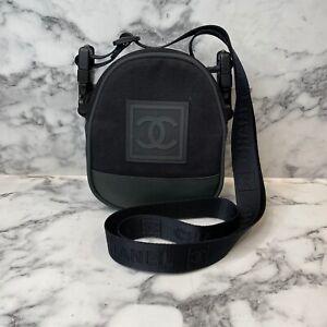 CHANEL Sport Unisex Vintage Green/Black Canvas Logo Crossbody Shoulder Mini Bag