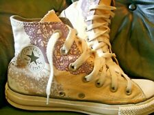 Converse Chuck Taylor All-Star High Tops UK Women Size 4 beige ,purple art print