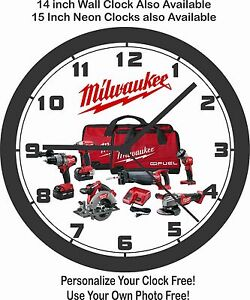 MILWAUKEE POWER TOOLS WALL CLOCK-FREE USA SHIP!-CRAFTSMAN, SNAP-ON