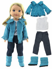 """Teal Fringe Western Outfit Fits 14.5""""  Wellie Wisher American Girl Clothes"""