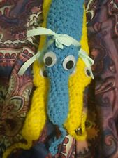 Giant Worm On A String Plush Cute Worm Handmade Blue and Yellow Pack of 3