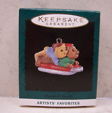 1995 Hallmark Miniature Ornament - Downhill Double, Bears, Artist Favorites