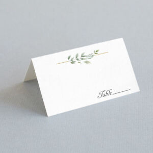 25 Tented Green Leaf Escort Cards, Folded Place Cards, Table Cards