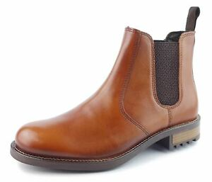 Mens Leather Chelsea Dealer Work Formal Ankle Tan Brown Boots Size