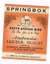 1930s South Africa Springbok to New Zealand Innes Ambrosia Muscat Wine Label