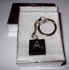 """A"" BLACK  SCRABBLE WOOD TILE KEY CHAIN  RING  KEYCHAIN"