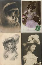 LADIES WITH HATS 300  Vintage Postcards pre-1940