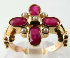 STUNNING 9K HAND MADE ART DECO INS INDIAN RUBY & PEARL RING