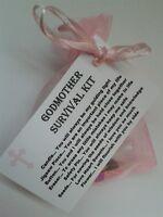 Godmother Survival Kit Novelty KEEPSAKE THANK YOU Gift Christening Godparents