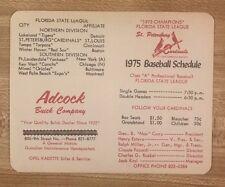 1975 St Petersburg Cardinals Baseball Schedule