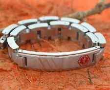 "Men's Stainless Steel Medical Alert ID Bracelet 12mm 9"" Medical Alert Jewelry, M"
