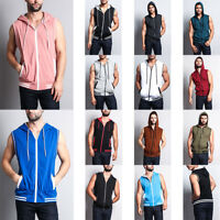 MEN'S Lightweight Sleeveless Gym Fitness Zipper Contrast Vest Hoodie Th890-A1H
