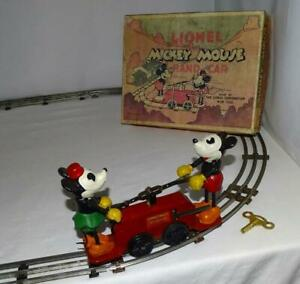 "EX./N.MINT DISNEY 1934 WORKING ""LIONEL MICKEY MOUSE HAND CAR""+BOX SET+TRACK+KEY"