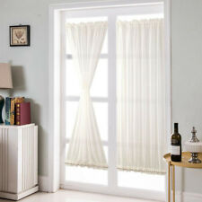 2Pcs Home French Door Curtains Blackout Curtain White 64x183cm