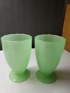 VINTAGE PAIR FENTON JADEITE JADITE GLASS ART DECO FOOTED  TUMBLERS