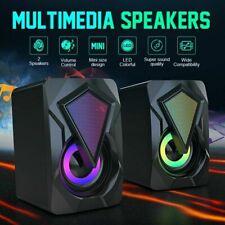 Portable Mini LED USB Power Computer Speakers Stereo 3.5mm Jack For PC Laptop US