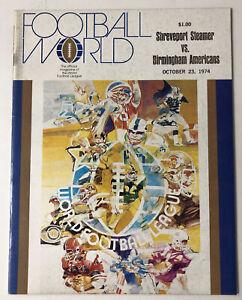 RARE 1974 WFL World Football Program Shreveport Steamer vs Birmingham Americans