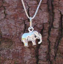 "Sterling Silver 925 Elephant Pendant 18"" Chain Necklace Sea Gems Animal Lovers"