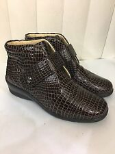 Hoopoe Jessice Brown Croco Leather WATERPROOF Strap Ankle Boots Size 6 Wide!