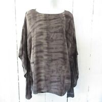 Citron Santa Monica Silk Top XL X Large Gray Tie Dye Ruched Kaftan Poncho