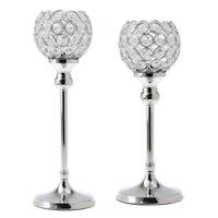 2-Pack Silver Globe Pillar Votive Candle Holder Wedding Banquet Centerpiece