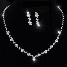 Trend Hochzeits Braut Schmuck Set Kette mit Ohrringe elegant Verlobung neu 003