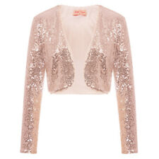 Ladies Long Sleeve Floral Beaded Sequin Women Bolero Shrug Crop Cardigan Jackets
