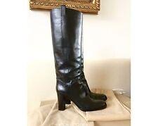 Neu ♥ Sergio Rossi ♥ Feiner Lederstiefel Stiefel Leder Schwarz Gr 39,5 NP 625,-
