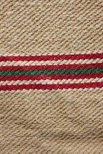 GRAIN SACK feedsack WASHED linen RED GREEN stripe Christmas fabric Washed