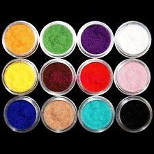 12 Colors Nail Art Velvet Flocking Snow Powder Dust 3D Tip Decoration DIY Kit