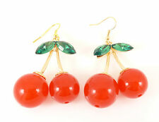 Gold Large Red Cherry Cherries Quirky Kitsch Fashion Jewellery Dangle Earrings