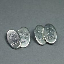 Chitty Family Crest English C 1820 Georgian Silver Talbot Dog Cufflinks Buttons
