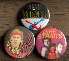 More details for dire straits x3 button badges -british rock band - brothers in arms - 25mm pins