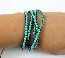 Turquoise Stone Bead Triple Wrap Tie Bracelet - Brown Cord Boho Chakra Surf Blue
