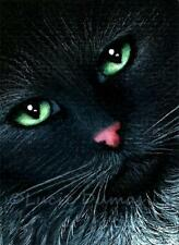 ACEO art print black Cat 319 from original painting by L.Dumas