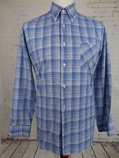 Vtg L-Sleeve Blue Check Cotton Casual Shirt Indie Mod Weller -L- EB86