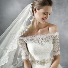 White Ivory Bridal Jackets Lace Off Shoulder Wedding Boleros Wraps Elegant Shrug