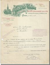 Facture - Norwich-Union Société D' Assurances sur la vie Paris 1918