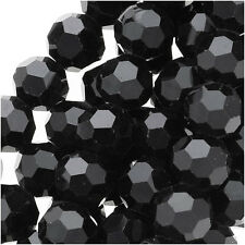 Jet Black Glass Faceted Round Beads 6mm (15 Inch Strand)