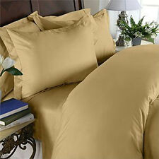 1500 Thread Count 100% Egyptian Cotton Bed Sheet Set, OLYMPIC QUEEN, Gold Solid