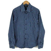 Country Road Mens Button Up Shirt Size Large Blue Plaid Long Sleeve Collared