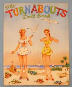 VINTAGE - THE TURNABOUTS  - L-1048 - PAPER DOLL BOOK - 1943 - UNUSED - LOWE