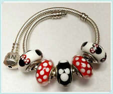 5 Authentic  Pandora 925 ale silver CHARMS BEADS glass Disney Minnie Mickey p