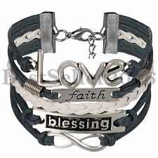 Handmade Love Blessing Faith Leather Bracelet for Women Men Wristband Jewelry
