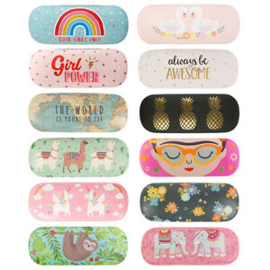 Glasses Case Hard Shell Reading Specs Floral Lens Cleaning Cloth Travel Holder